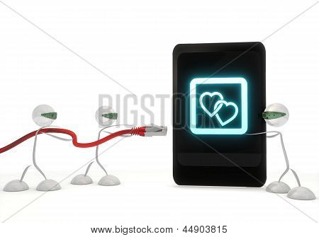 two hearts icon on a smart phone with three robots