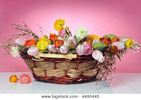 Basket With Spring Flowers