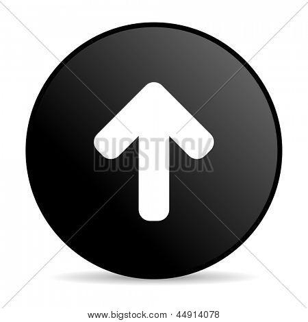 arrow up black circle web glossy icon