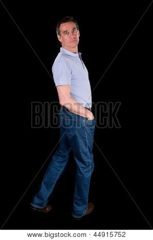 Man Looking Backwards Over Shoulder