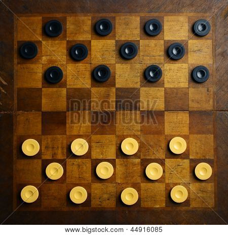 Color shot of a vintage draughts or checkers board game. poster