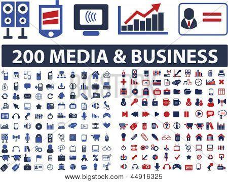 200 mídia, negócio, site, comunicação, design, ícones da internet, sinais, conjunto de símbolos, vetor