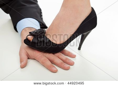Woman Step On The Hand