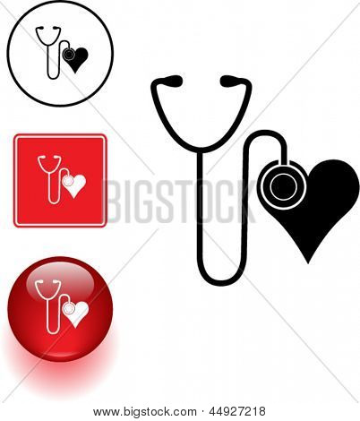 stethoscope and heart symbol sign and button