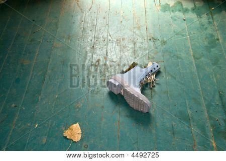 Blue Boot On Floor