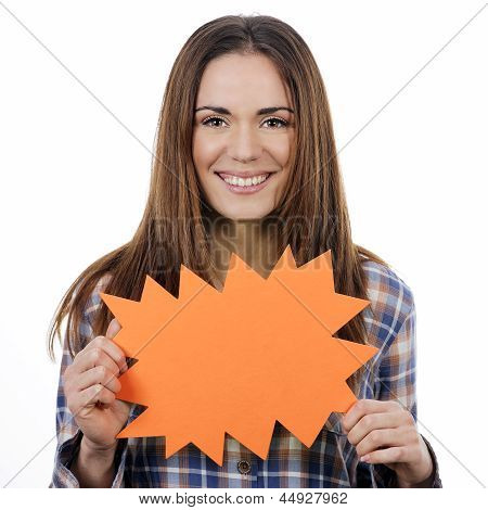 Woman Holding Orange Panel