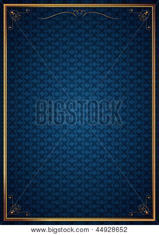 Corner patterns in blue wallpaper