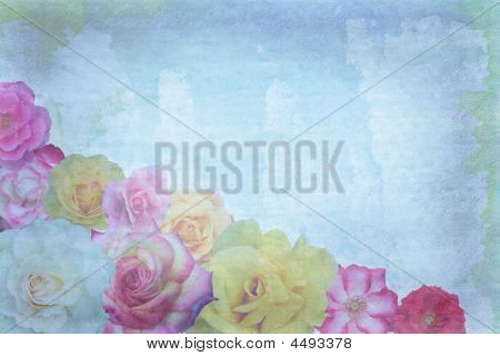 Colorful Roses on grunge blue white background poster