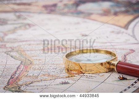 Map With Magnifying Glass
