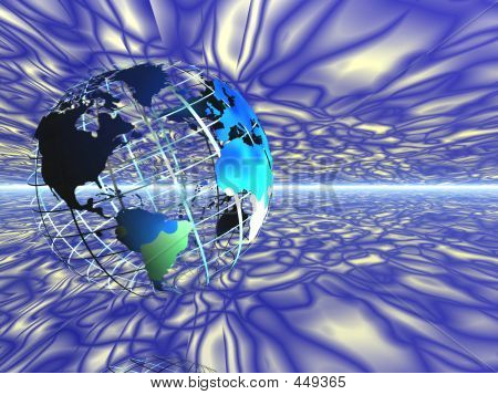 World Map On Grid In Space.