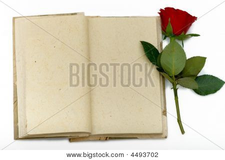 Diary With Opened Sheets And  Red Rose