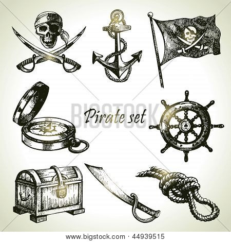 Pirates Set. Hand Drawn Illustrations