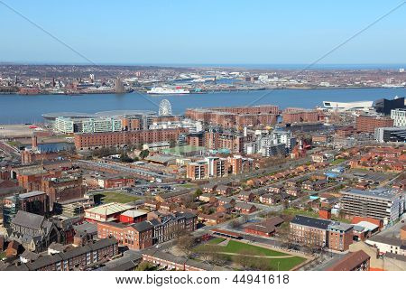 Liverpool - city in Merseyside county of North West England (UK). Aerial view with famous Albert Dock UNESCO World Heritage Site. poster