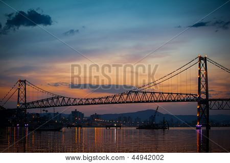Bridge With Orange Sunset