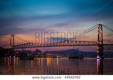 Suspension Bridge At Sunset