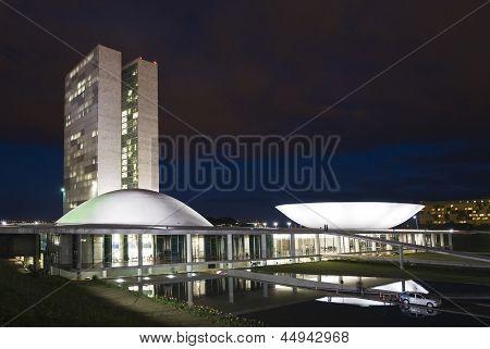 Brazilian National Congress At Night