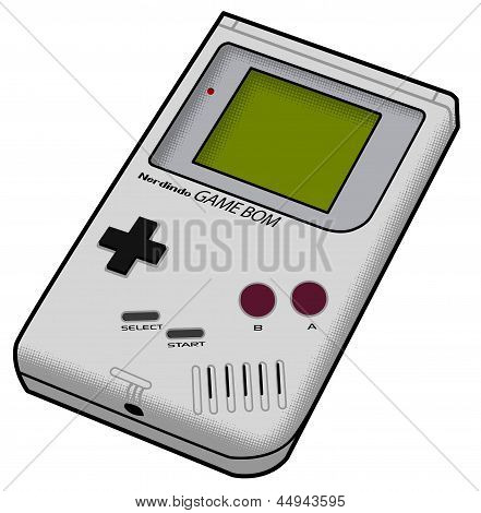 Gameboy, retro, super mario, classic, gamer, handheld, vector, child, grey, t-shirt, poster