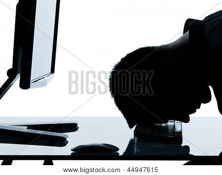 one caucasian business man computer computing sleeping tired portrait silhouette in studio isolated on white background