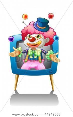 Illustration of a clown inside the blue television on a white background