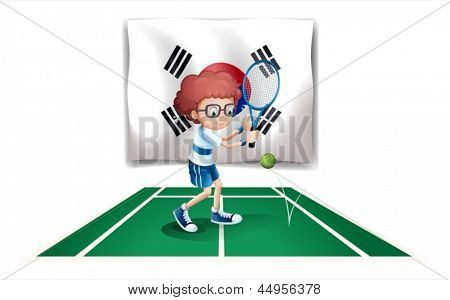 Illustration of the South Korean flag with the tennis player on a white background