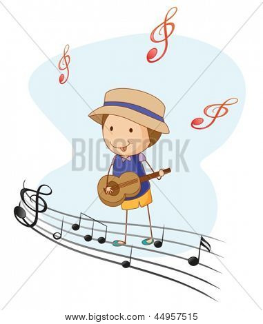 Illustration of a kid playing with a guitar on a white background