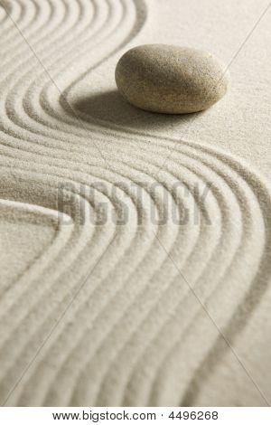 Stone On Raked Sand