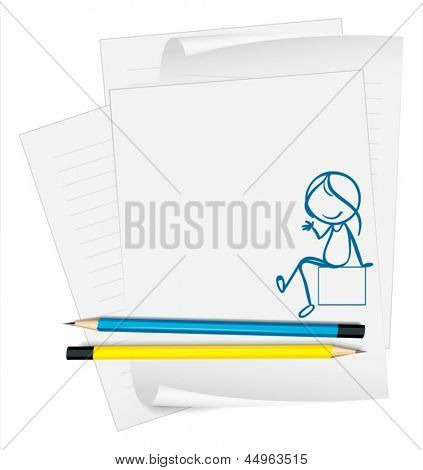 Illustration of a paper with a sketch of a girl sitting down on a white background