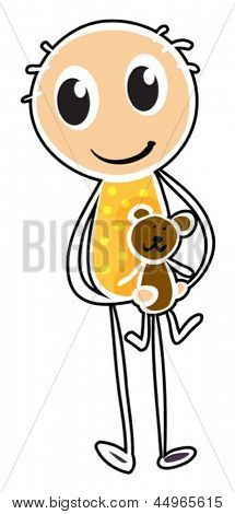 Illustration of a sketch of a boy holding a toy on a white background