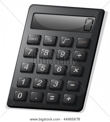 Illustration of a gray calculator on a white background