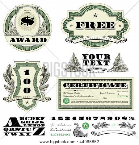 Vector Money Frames and Ornaments. Easy to edit. All layers are separated.