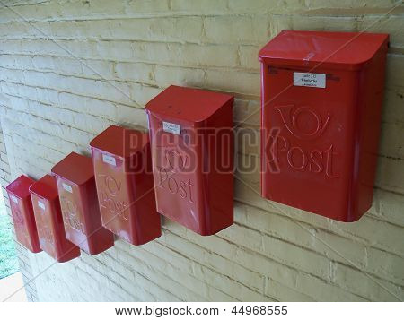 Group of Old fashioned mail boxes