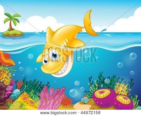 Illustration of a yellow shark diving into the sea