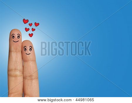 Happy Couple Looking Above In Hope Or Anticipation Or Love - Love Concept Illustration Using Fingers