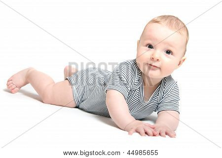 Baby Lies On Tummy