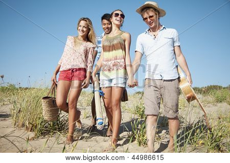 group of young people camping or going on a day trip