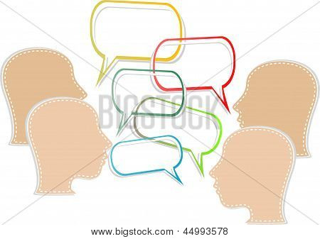 Silhouette Of A Human Head With Emanating From It Bubbles Speech, art illustration