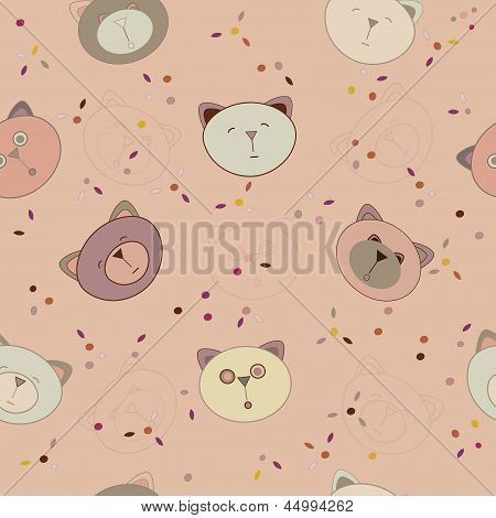 Pattern animals heads, cats, dogs and bears