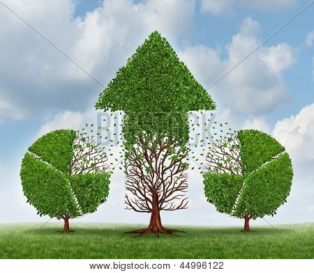 Investing for growth business concept with trees shaped as a financial pie chart transferring and lending assets to a growing arrow shaped plant as an idea of growing wealth strategy on a sky. poster