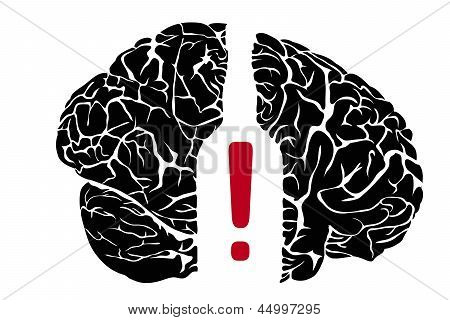 alcoholism. Brain with bottle on a white background poster