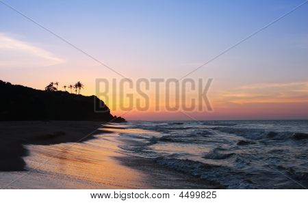 Beach With Beautiful Sunset