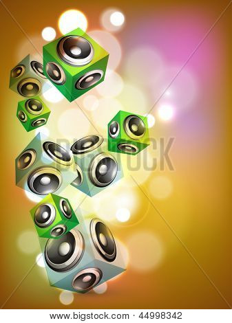 Abstract music background with loudspeakers.