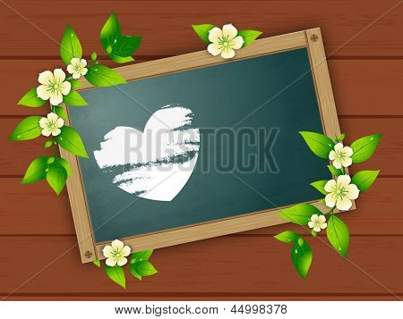 Abstract love frame background with flowers. EPS 10.