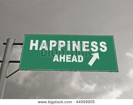 A Notice Board On A National Highway Showing Happiness Ahead, Concept