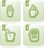 Food & drinks icons set pictured here from left to right top to bottom: Ice cream Cup of tea Champagne Canned fish. poster