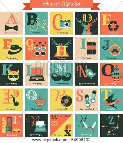 Hipster alphabet concept background with icons poster