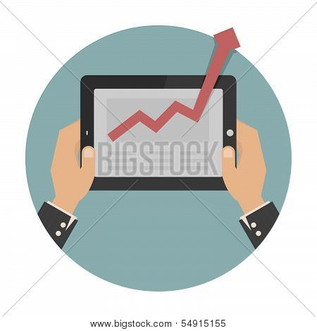 Hands holding a tablet with graph