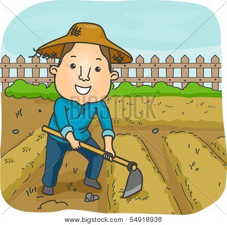Illustration of a Male Farmer Using a Hoe to Cultivate a Garden Plot