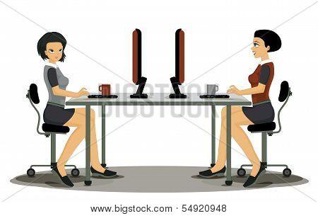 Women employees working