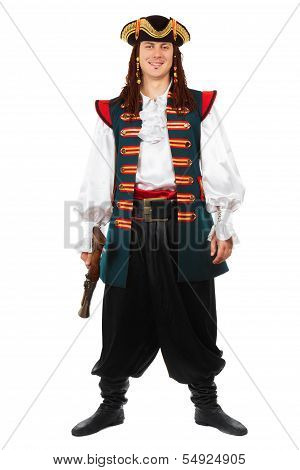 Smiling Man In Pirate Costume