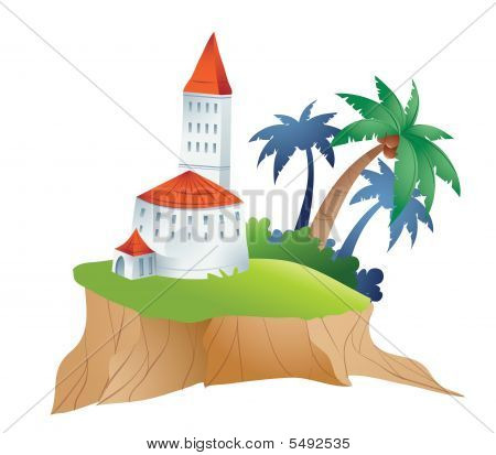 palm and castle with island on a white background poster